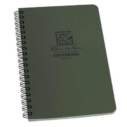 Rite In The Rain 4 5/8 x 7 Side Spiral Waterproof Notepad Green